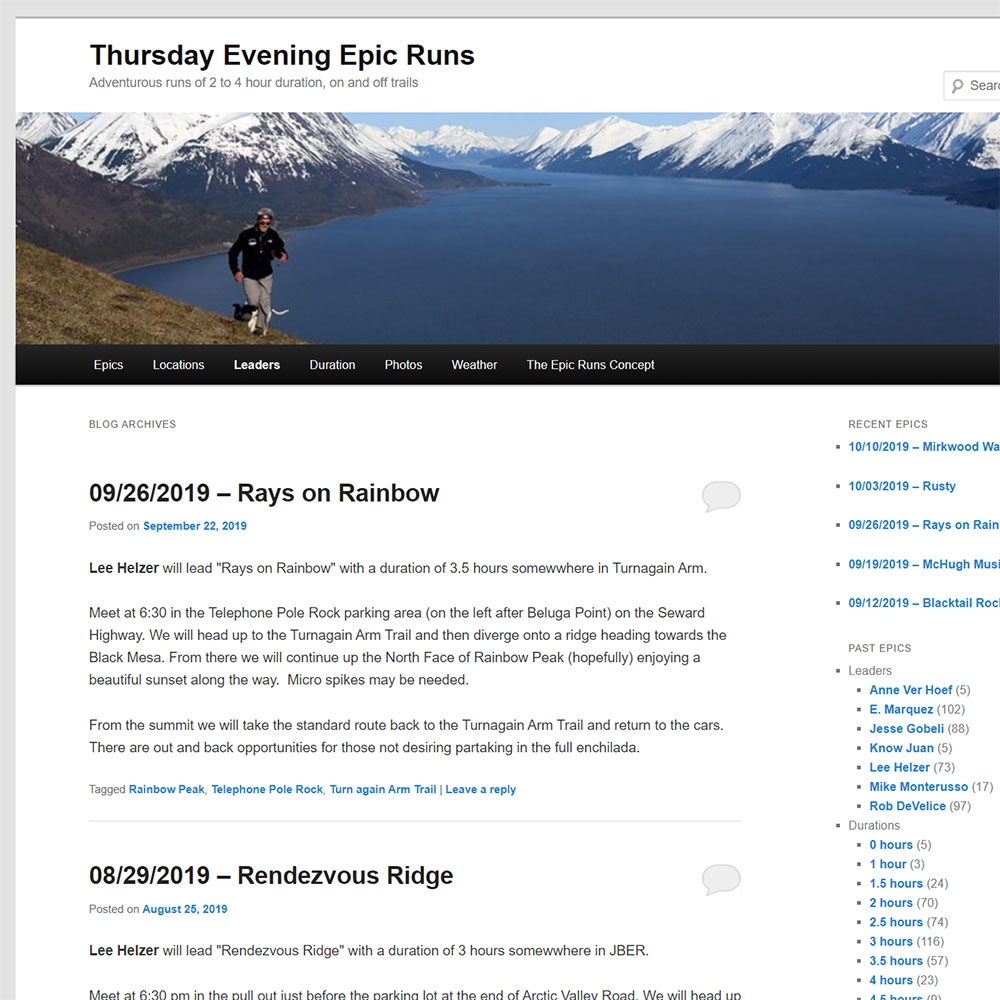 Custom WordPress Sites EpicRuns.org