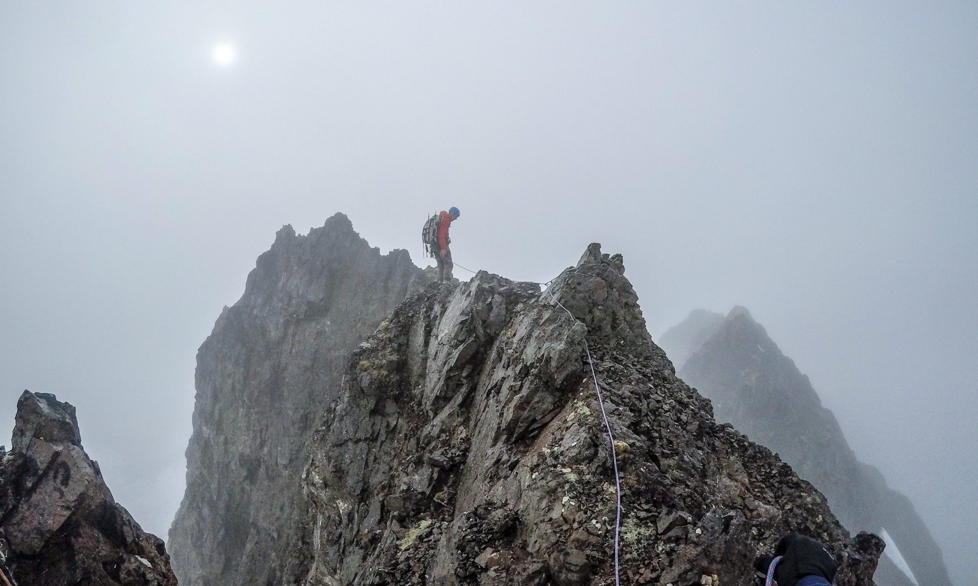 Lee Helzer heading to the summit of Peters Peak